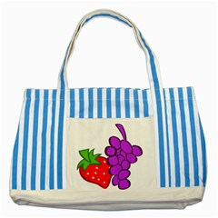 Fruit Grapes Strawberries Red Green Purple Striped Blue Tote Bag