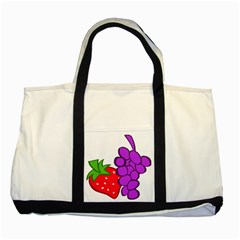 Fruit Grapes Strawberries Red Green Purple Two Tone Tote Bag