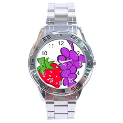 Fruit Grapes Strawberries Red Green Purple Stainless Steel Analogue Watch