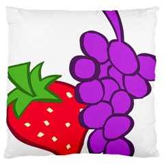 Fruit Grapes Strawberries Red Green Purple Large Cushion Case (Two Sides)