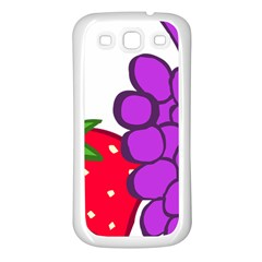 Fruit Grapes Strawberries Red Green Purple Samsung Galaxy S3 Back Case (White)