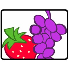 Fruit Grapes Strawberries Red Green Purple Double Sided Fleece Blanket (Large)