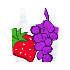 Fruit Grapes Strawberries Red Green Purple Full Print Recycle Bags (M)