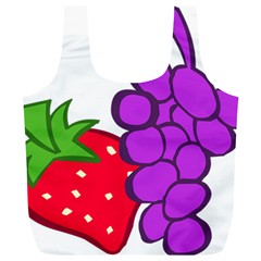 Fruit Grapes Strawberries Red Green Purple Full Print Recycle Bags (L)