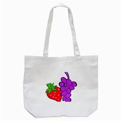 Fruit Grapes Strawberries Red Green Purple Tote Bag (White)