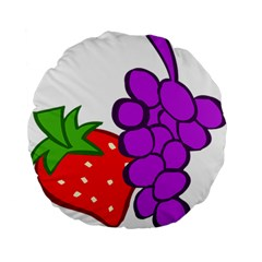 Fruit Grapes Strawberries Red Green Purple Standard 15  Premium Flano Round Cushions