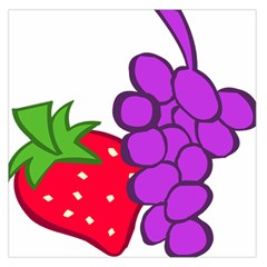 Fruit Grapes Strawberries Red Green Purple Large Satin Scarf (Square)