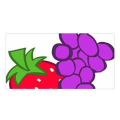 Fruit Grapes Strawberries Red Green Purple Satin Shawl