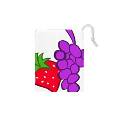 Fruit Grapes Strawberries Red Green Purple Drawstring Pouches (XS)