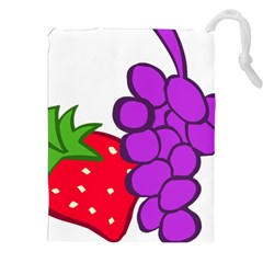 Fruit Grapes Strawberries Red Green Purple Drawstring Pouches (XXL)