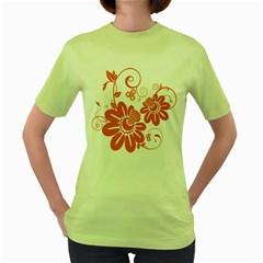 Floral Rose Orange Flower Women s Green T-Shirt