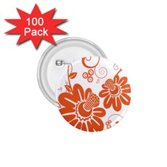 Floral Rose Orange Flower 1 75  Buttons (100 Pack)