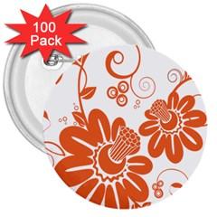 Floral Rose Orange Flower 3  Buttons (100 pack)