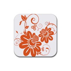 Floral Rose Orange Flower Rubber Square Coaster (4 pack)