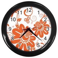 Floral Rose Orange Flower Wall Clocks (Black)