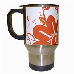 Floral Rose Orange Flower Travel Mugs (White)