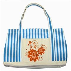 Floral Rose Orange Flower Striped Blue Tote Bag