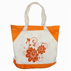 Floral Rose Orange Flower Accent Tote Bag