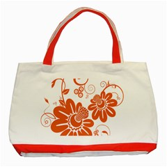Floral Rose Orange Flower Classic Tote Bag (Red)