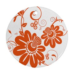 Floral Rose Orange Flower Round Ornament (Two Sides)