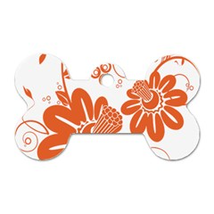 Floral Rose Orange Flower Dog Tag Bone (one Side)