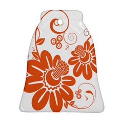 Floral Rose Orange Flower Ornament (Bell)