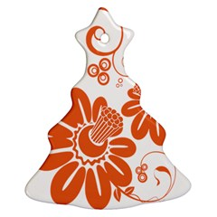 Floral Rose Orange Flower Christmas Tree Ornament (Two Sides)