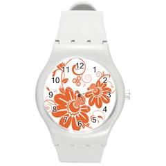 Floral Rose Orange Flower Round Plastic Sport Watch (M)