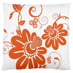 Floral Rose Orange Flower Large Cushion Case (One Side)
