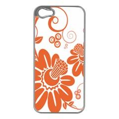 Floral Rose Orange Flower Apple iPhone 5 Case (Silver)