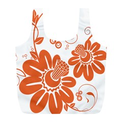 Floral Rose Orange Flower Full Print Recycle Bags (L)