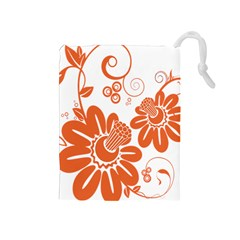 Floral Rose Orange Flower Drawstring Pouches (Medium)