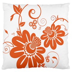 Floral Rose Orange Flower Large Flano Cushion Case (One Side)
