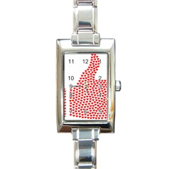Heart Love Valentines Day Red Sign Rectangle Italian Charm Watch