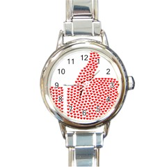 Heart Love Valentines Day Red Sign Round Italian Charm Watch