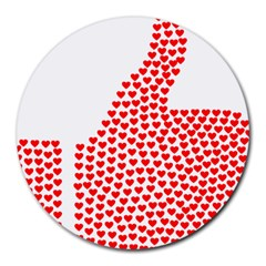 Heart Love Valentines Day Red Sign Round Mousepads