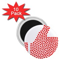 Heart Love Valentines Day Red Sign 1 75  Magnets (10 Pack)