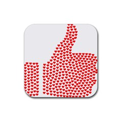 Heart Love Valentines Day Red Sign Rubber Square Coaster (4 Pack)