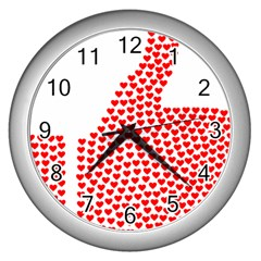 Heart Love Valentines Day Red Sign Wall Clocks (Silver)