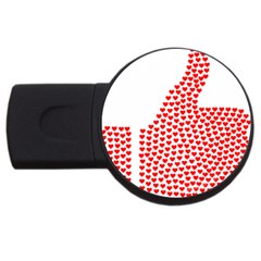 Heart Love Valentines Day Red Sign USB Flash Drive Round (4 GB)