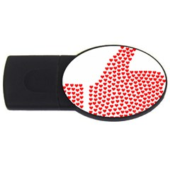 Heart Love Valentines Day Red Sign Usb Flash Drive Oval (4 Gb)