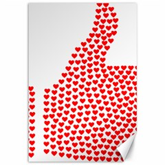 Heart Love Valentines Day Red Sign Canvas 12  x 18