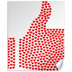 Heart Love Valentines Day Red Sign Canvas 11  x 14