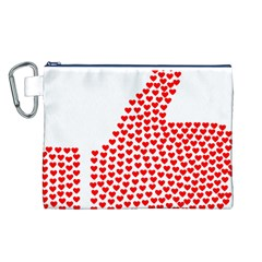 Heart Love Valentines Day Red Sign Canvas Cosmetic Bag (L)