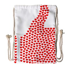 Heart Love Valentines Day Red Sign Drawstring Bag (Large)