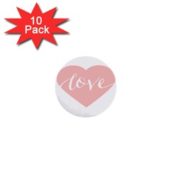 Love Valentines Heart Pink 1  Mini Buttons (10 pack)