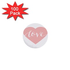 Love Valentines Heart Pink 1  Mini Buttons (100 Pack)