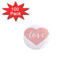 Love Valentines Heart Pink 1  Mini Magnets (100 Pack)