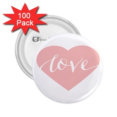 Love Valentines Heart Pink 2.25  Buttons (100 pack)