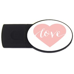 Love Valentines Heart Pink USB Flash Drive Oval (2 GB)